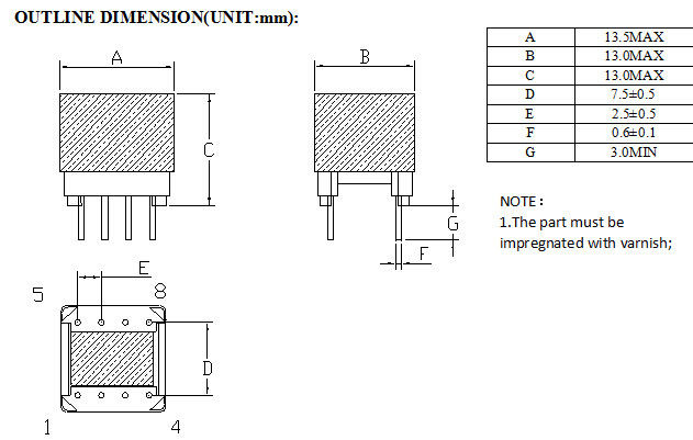 Small High Frequency Power Transformer , Vacuum Varnish EP